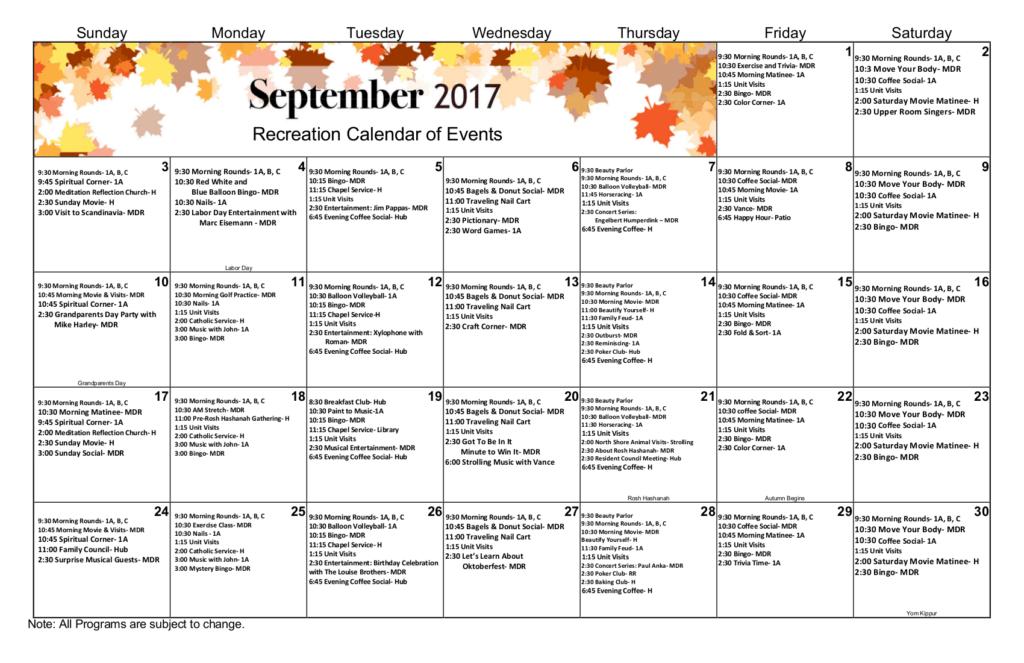 Activity Calendar | September Recreation Activity Calendar Apex